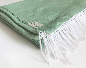 Handwoven Green Cotton Baby Blanket - Extra Large