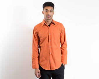 Vintage Orange Dress Shirt / Mens Arrow French Cuff Long Sleeved Button up Causal Office Workers Shirt / Cufflink Shirt