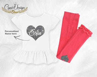 Personalized Ruffle T-Shirt, Custom girl set, Love Set, Personalized ruffle footless Tights, Clothing, Girls' Clothing, Clothing Sets