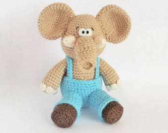 Crochet elephant pattern - Amigurumi elephant pattern - crocheted elephant pattern - PDF crochet pattern - tutorial