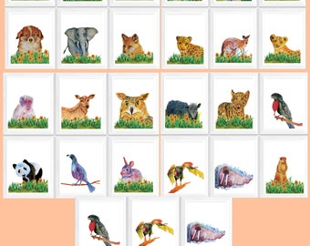 Cute animal poster, baby animals poster, alphabet art nursery, alphabet animal download, alphabet animal poster, baby animal pictures