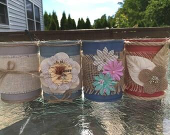 Set of four Decorative Tin Cans