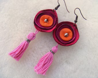 Pink and Orange Bohemian Leather Earrings