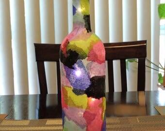 wine bottle, led lights, multi colors, decoration, decor, glass