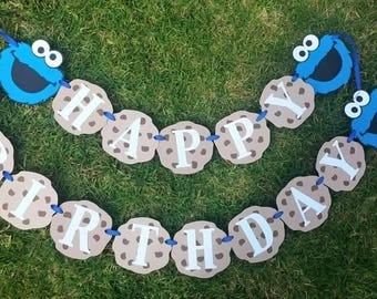 Cookie Monster birthday banner...sesame street birthday banner...cookie monster birthday party banner