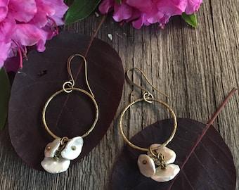 earrings,hoop earrings, cornflake beads creamy pink beads