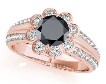 1.35 Ct. Halo Black Diamond Engagement Ring In 14k Gold