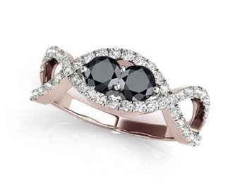 1.25 Ct Two Stone Black Diamond Engagement Ring In 14k Gold