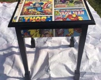 Expertly Upcycled Marvel Comic Book Table With Draw!