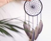 Dreamcatcher / #54 / 'Betty' / amazonite, laine et plumes de pintade - moyen -