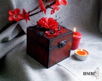 Wooden box, black and red box, birthday gift, jewellery box, ready to ship, red rose, gift for girl, magic box, black magic, halloween