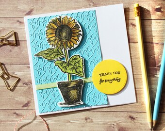 Sunflower Handmade Thank You Card - handmade, paper crafts, thanks, ice cream card, cute, handmade with love, summer