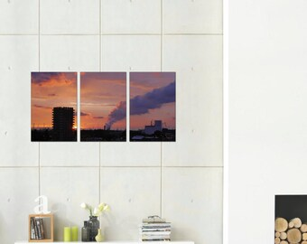Pink Sunset  - Three Panel Set on Canvas