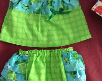 Summer top and ruffled bloomers size 3-6 months