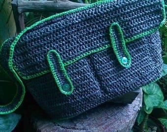 Messenger Style- Plarn Bag- Crochet Bag-Recycled Plastic bags