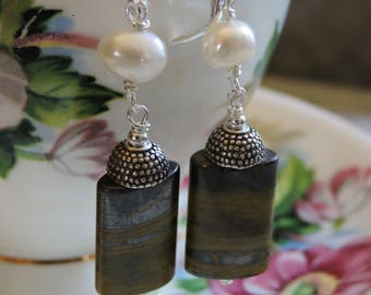 Tiger Iron and Pearl Earrings