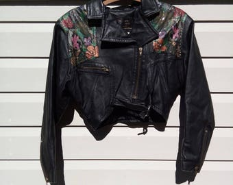 Hand-painted 90s Cropped Leather Motorcycle Jacket