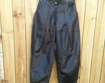 High Waist PVC Polyester Trousers w/ Leather Waistband