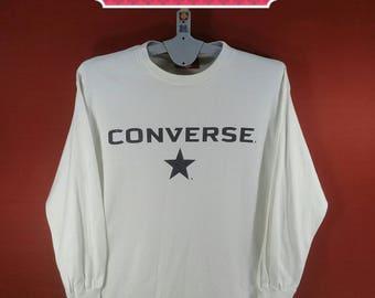 Vintage Converse All Star Tee Long Sleeve Spellout Big Logo Shirt White Colour Size L Adidas Shirts Champion Shirts Stussy Vans Skate Shirts