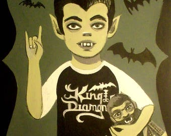 El Gato Gomez Eddie Munster King Diamond Black Metal Vintage TV Art Print
