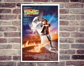 Back to the future movie poster. Michael J. Fox, Christopher Lloyd, Robert Zemeckis.