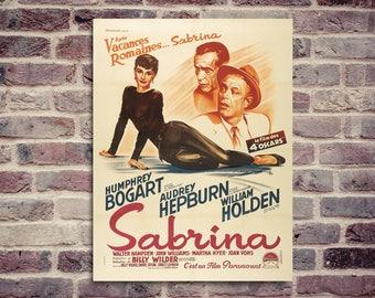 Sabrina poster. Audrey Hepburn poster. Humphrey Bogart. William Holden. Movie poster. Vintage poster.
