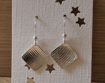 Checkered earrings in sterling silver