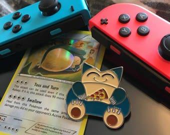 SNORLAX Enamel Pin (Retro Pokemon Cute Pizza Nintendo Anime Lapel Lazy Edition)