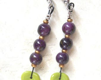 Earrings purple plum and green