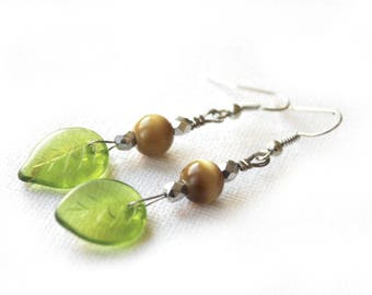 Silver earrings beige and green leaves