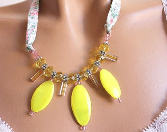 Yellow almond necklace neon and fabric liberty.