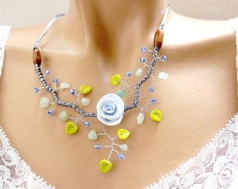 Blue floral beads and copper wire