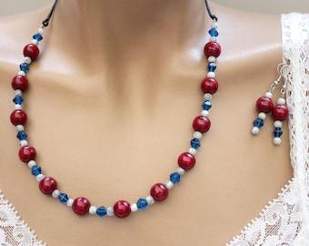 Set wood and glass Burgundy/blue/white beads