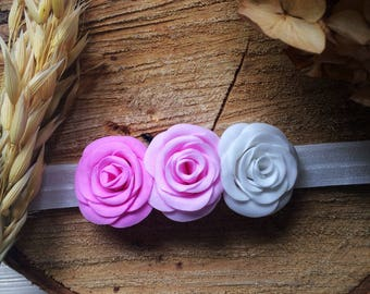 Beautiful hair accessories with handmade roses looks great on your little lady head
