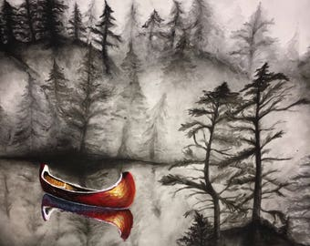 Red Canoe. Original acrylic and ink painting PRINT, print on canvas, Home Decor