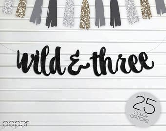 Wild and Three Banner Garland Sign, Birthday Party, Baby Shower, Where the Wild Things Are, Boho Birthday, Tribal, 3, Third, Woodland