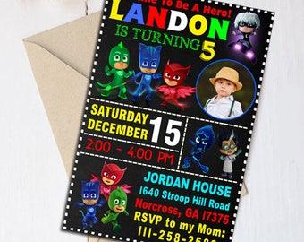 Pj Masks Birthday, Pj Masks Invitation, Pj Masks Birthday Invitation, Pj Masks Banner, Pj Masks Invite, Pj Masks Birthday Card, Pj Masks