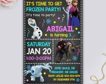 Frozen Birthday Invitation, Frozen Invitation, Frozen Party Invitation, Frozen Invite, Frozen Birthday Party, Frozen Printable Thank You Tag