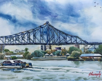 Original Watercolour Landscape Painting - Brisbane River and Story Bridge, Queensland - Artist Phuong Ly