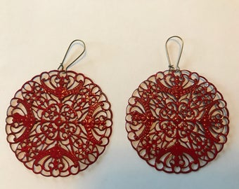 Painted Lightweight Filigree Earrings - Orange 2 1/2 inch