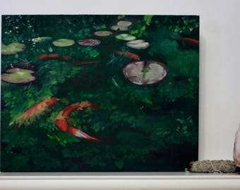 Original Painting, Oil Painting, Koi Pond