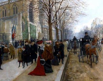 Après L'office À L'église De La Sainte Trinité, Noël Painting by Béraud Art Print Reproduction