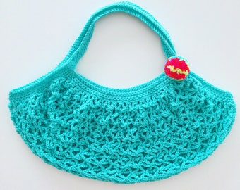 Crochet Market Bag with Pom Pom Detail / Crochet Beach Bag with Pom Pom Detail