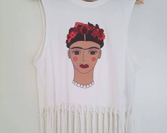 Handmade Frida Kahlo Shirt // Floral Top // Only one in stock