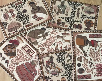 Placemats African People, Huts and Art