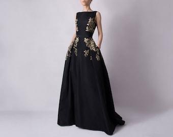 Hand painted dress from silk taffeta - free shipping - sleeveless evening dress ; black gown ; glamorous details