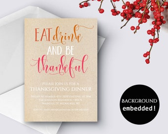 Editable Thanksgiving Invitation Friendsgiving Invitation Printable Invitation Thanksgiving Dinner Invite Party Invites PDF Instant Download