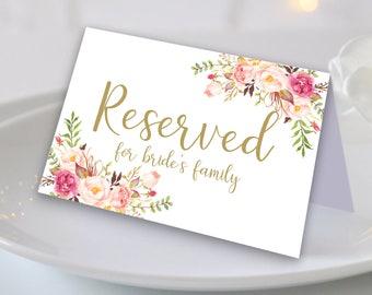 Floral Reserved Sign Reserved Printable Reserved Wedding Sign Reserved Table Sign Wedding Printable Wedding Templates Reserved Seating Signs