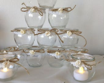 12 Small Candle Jars Wedding Table Decorations Shabby Chic