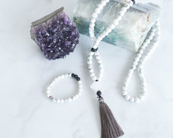 Howlite Mala Necklace and Diffuser Bracelet